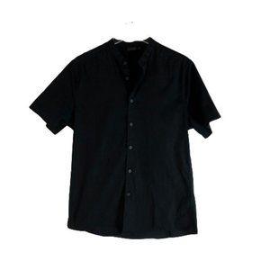 ASOS Mens Button Front Collarless Shirt Black M